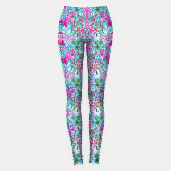 Thumbnail image of Vintage floral turquoise pattern Leggings, Live Heroes
