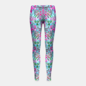 Thumbnail image of Vintage floral turquoise pattern Girl's Leggings, Live Heroes