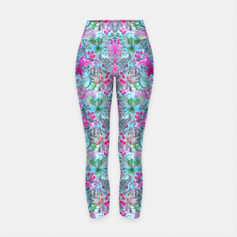 Thumbnail image of Vintage floral turquoise pattern Yoga Pants, Live Heroes