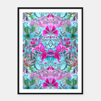 Thumbnail image of Vintage floral turquoise pattern Framed poster, Live Heroes