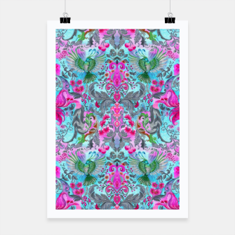 Thumbnail image of Vintage floral turquoise pattern Poster, Live Heroes