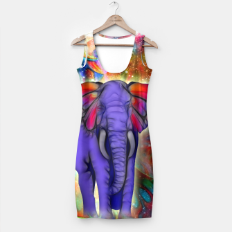 Miniatur Abstract ELEPHANT with Butterfly Ears Colorful Galaxy Kleid, Live Heroes