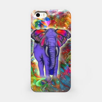 Abstract ELEPHANT with Butterfly Ears Colorful Galaxy iPhone-Hülle Bild der Miniatur