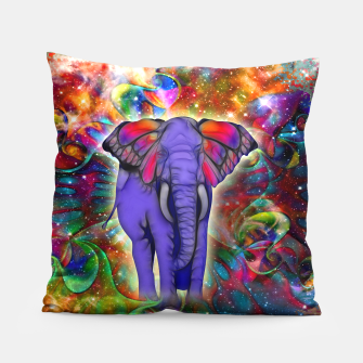 Miniatur Abstract ELEPHANT with Butterfly Ears Colorful Galaxy Kissen, Live Heroes