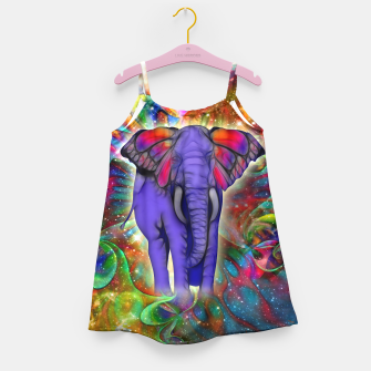 Miniatur Abstract ELEPHANT with Butterfly Ears Colorful Galaxy Mädchenkleid, Live Heroes