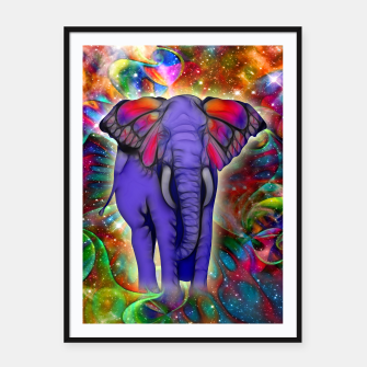 Miniatur Abstract ELEPHANT with Butterfly Ears Colorful Galaxy Plakat mit rahmen, Live Heroes