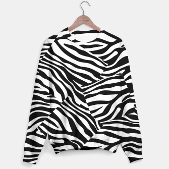 Miniatur Abstract Zebra Stripes Pattern Black White Sweatshirt, Live Heroes
