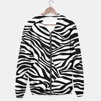 Miniatur Abstract Zebra Stripes Pattern Black White Kapuzenpullover, Live Heroes