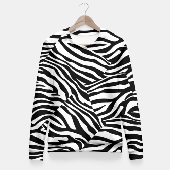 Miniatur Abstract Zebra Stripes Pattern Black White Taillierte Sweatshirt, Live Heroes