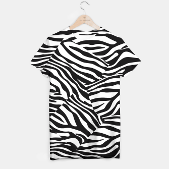 Miniatur Abstract Zebra Stripes Pattern Black White T-Shirt, Live Heroes