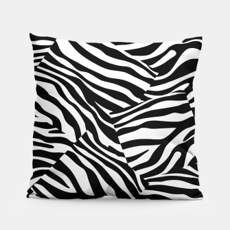 Miniatur Abstract Zebra Stripes Pattern Black White Kissen, Live Heroes