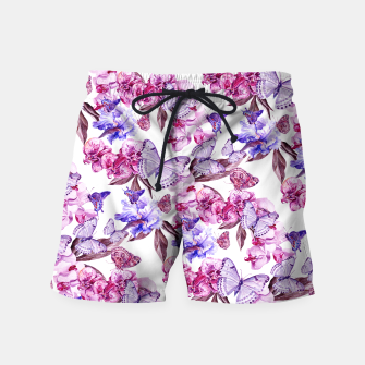Miniatur Classic Butterflies Flowers Pattern Pink Blue Badeshorts, Live Heroes