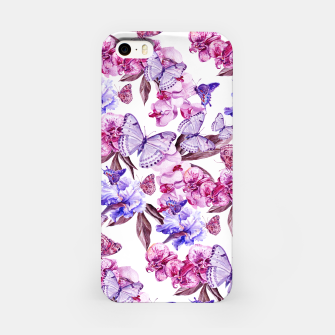 Miniatur Classic Butterflies Flowers Pattern Pink Blue iPhone-Hülle, Live Heroes