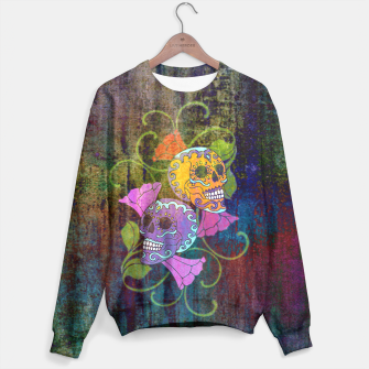 Miniatur Día De Los Muertos - Two Colored Skulls Flowers Sweatshirt, Live Heroes
