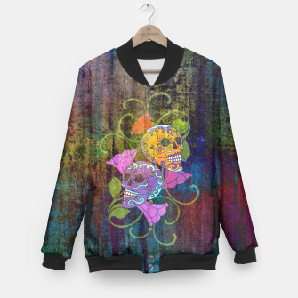 Miniatur Día De Los Muertos - Two Colored Skulls Flowers College-Jacke, Live Heroes