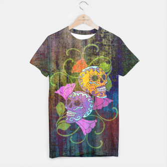 Miniatur Día De Los Muertos - Two Colored Skulls Flowers T-Shirt, Live Heroes