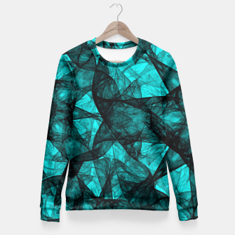 Thumbnail image of Fractal Art Turquoise G52 Fitted Waist Sweater, Live Heroes