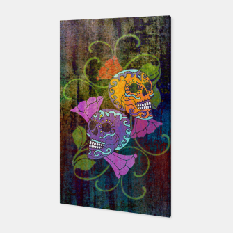 Miniatur Día De Los Muertos - Two Colored Skulls Flowers Canvas, Live Heroes