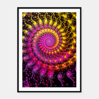 Miniatur Abstract Apophysis Fractal Spiral Painting Pink Yellow Plakat mit rahmen, Live Heroes