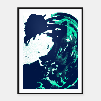 Thumbnail image of Pantone green and Blue Burns on a wave Framed poster, Live Heroes