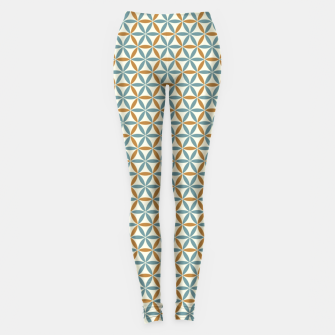Miniatur Flower Of Life endless Pattern brown blue beige Leggings, Live Heroes