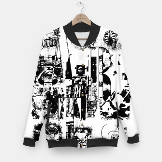 Miniatur Black and White ART Collage College-Jacke, Live Heroes