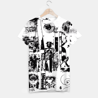 Miniatur Black and White ART Collage T-Shirt, Live Heroes