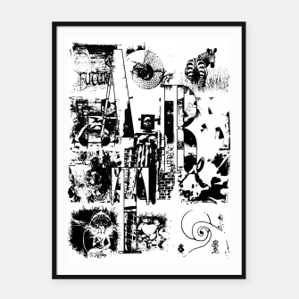 Miniatur Black and White ART Collage Plakat mit rahmen, Live Heroes