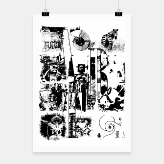 Miniatur Black and White ART Collage Plakat, Live Heroes