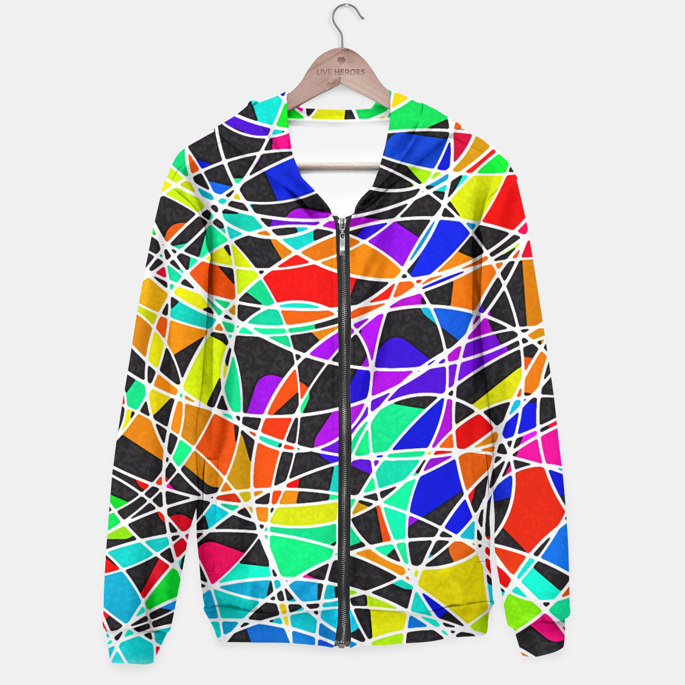 Foto Abstract Art Circle Stained multicolored Kapuzenpullover - Live Heroes