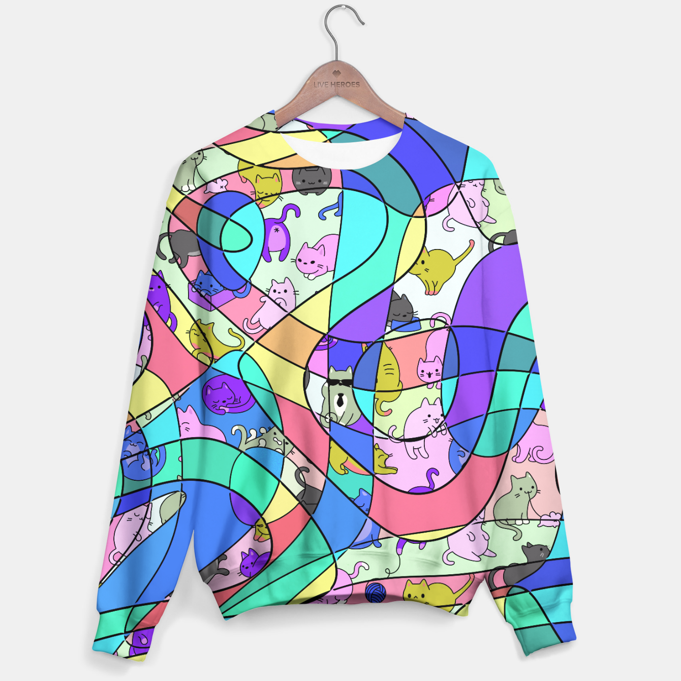 Foto Colored Squiggly Loops with Funny Cats Pattern II Sweatshirt - Live Heroes
