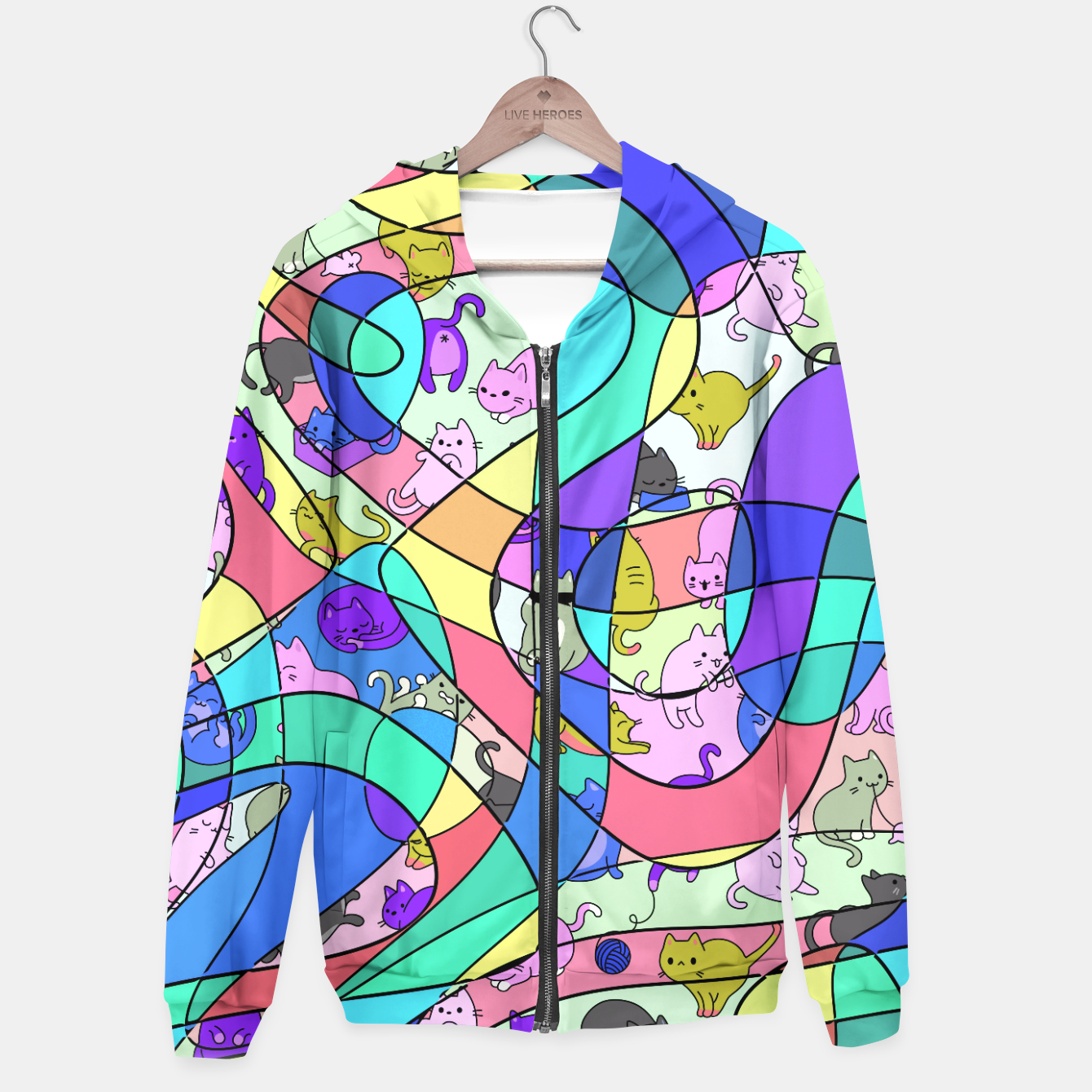 Foto Colored Squiggly Loops with Funny Cats Pattern II Kapuzenpullover - Live Heroes