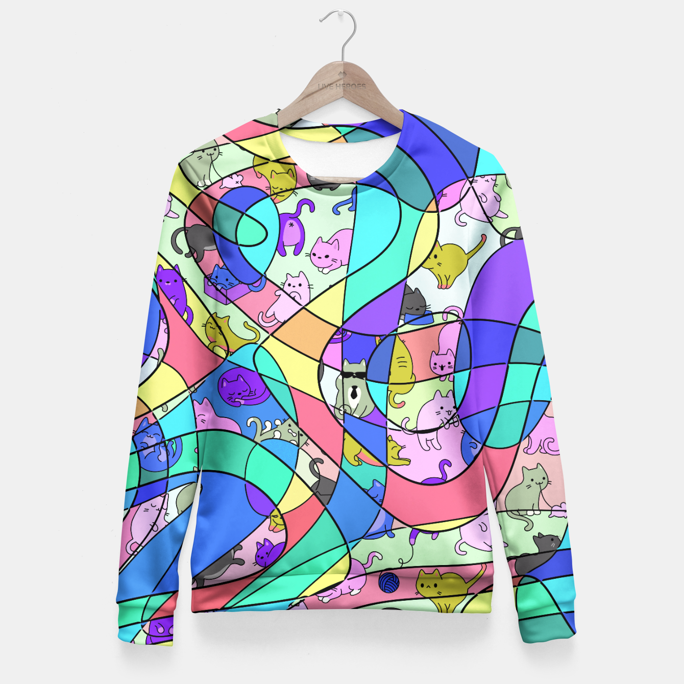 Foto Colored Squiggly Loops with Funny Cats Pattern II Taillierte Sweatshirt - Live Heroes