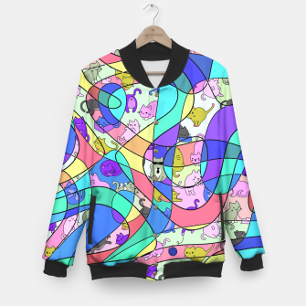 Miniatur Colored Squiggly Loops with Funny Cats Pattern II College-Jacke, Live Heroes