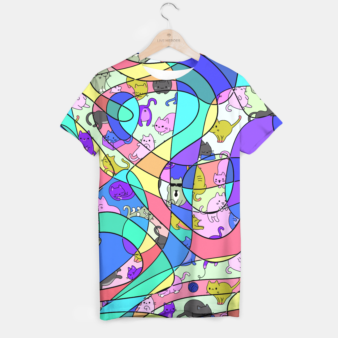 Foto Colored Squiggly Loops with Funny Cats Pattern II T-Shirt - Live Heroes