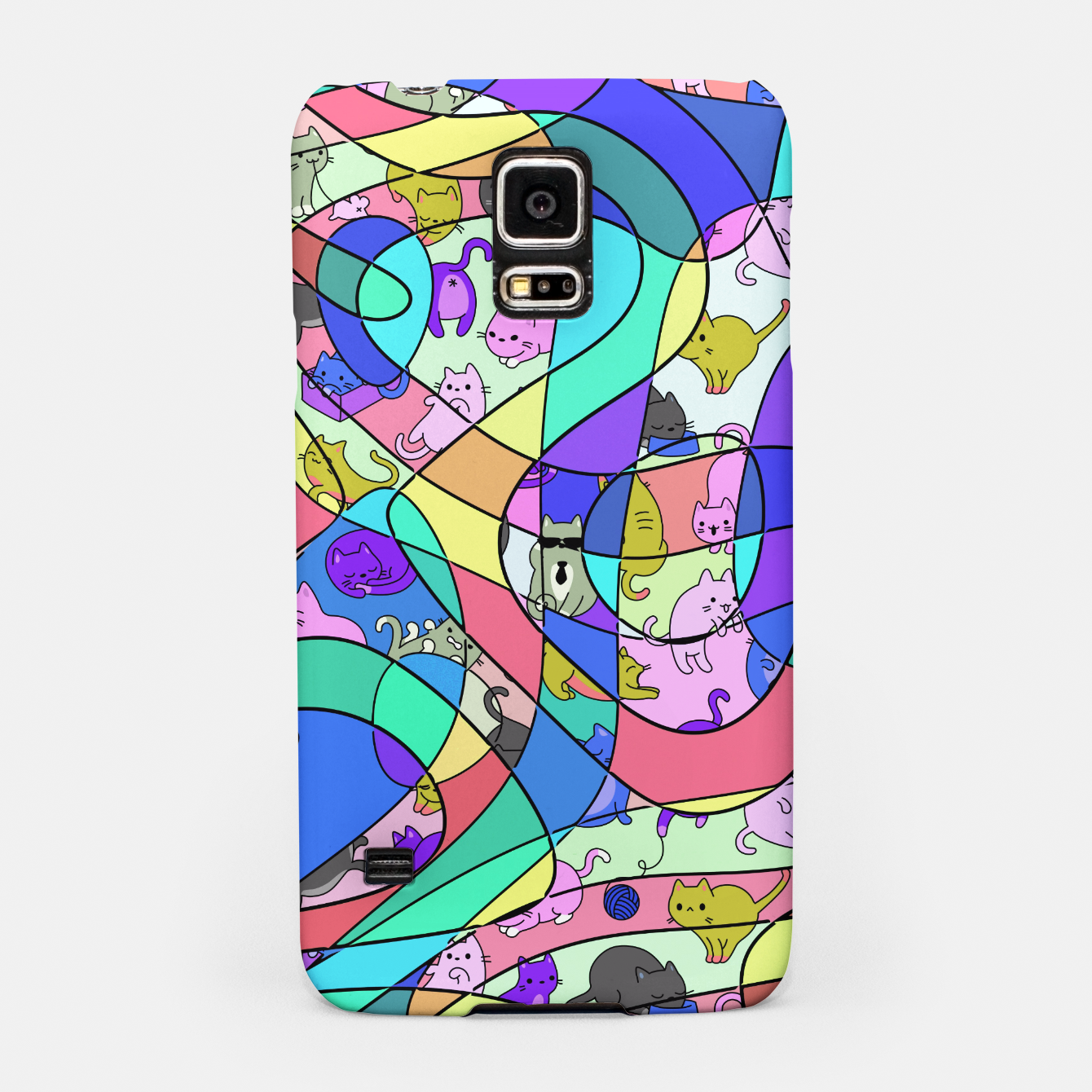 Foto Colored Squiggly Loops with Funny Cats Pattern II Handyhülle für Samsung - Live Heroes