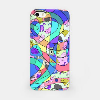 Colored Squiggly Loops with Funny Cats Pattern II iPhone-Hülle Bild der Miniatur