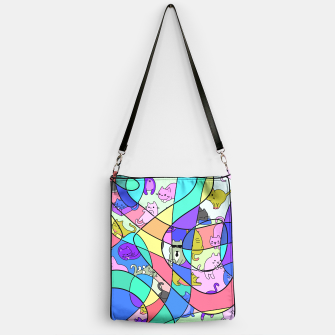 Miniatur Colored Squiggly Loops with Funny Cats Pattern II Handtasche, Live Heroes
