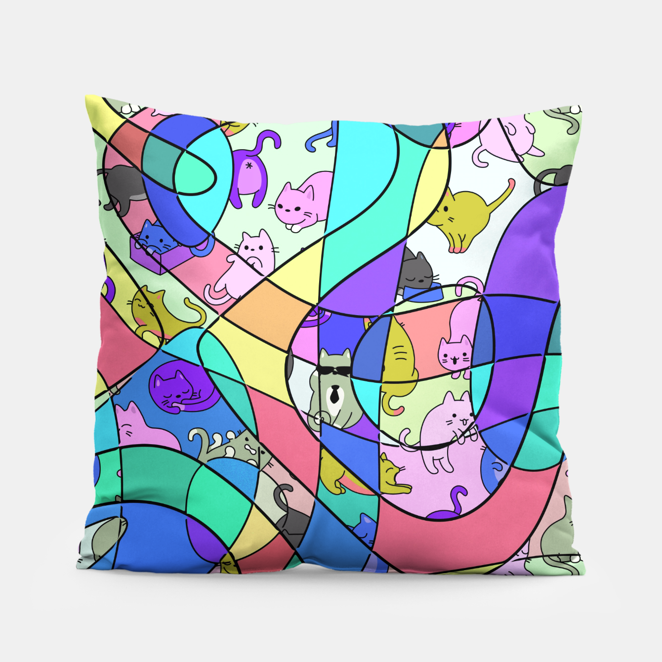 Foto Colored Squiggly Loops with Funny Cats Pattern II Kissen - Live Heroes