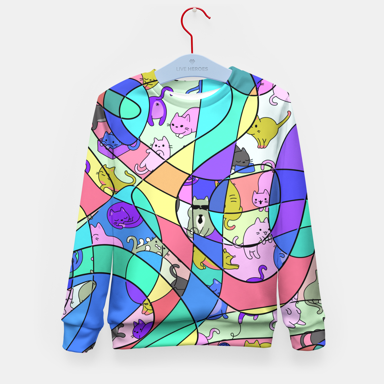 Foto Colored Squiggly Loops with Funny Cats Pattern II Kindersweatshirt - Live Heroes