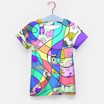 Miniatur Colored Squiggly Loops with Funny Cats Pattern II T-Shirt für Kinder, Live Heroes