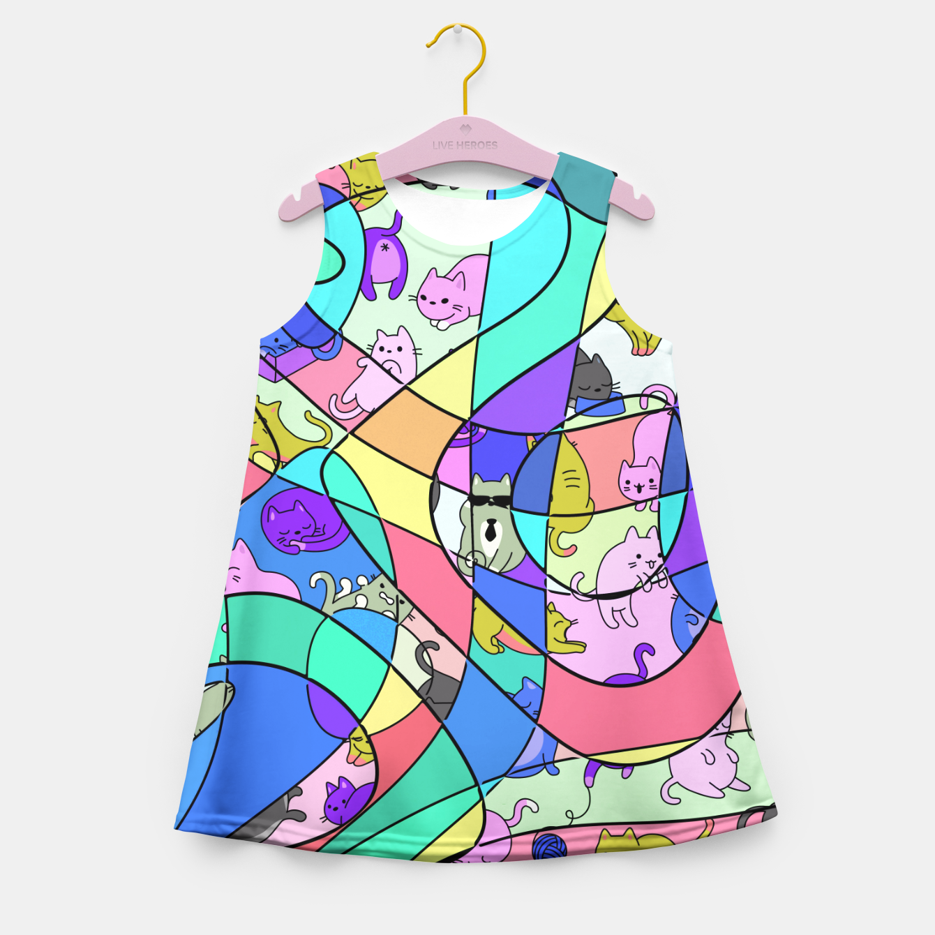 Foto Colored Squiggly Loops with Funny Cats Pattern II Mädchen-Sommerkleid - Live Heroes