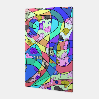 Colored Squiggly Loops with Funny Cats Pattern II Canvas Bild der Miniatur