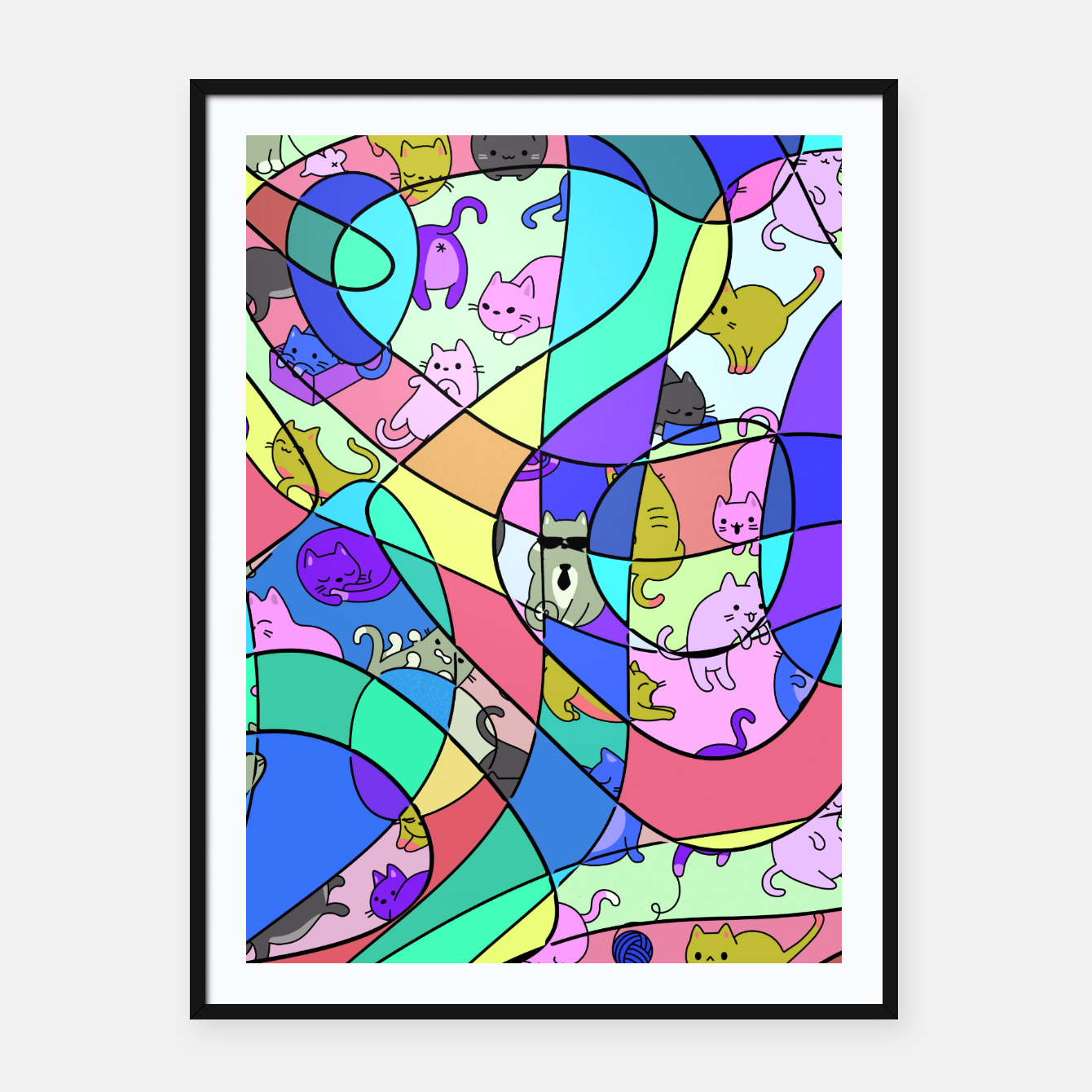 Foto Colored Squiggly Loops with Funny Cats Pattern II Plakat mit rahmen - Live Heroes