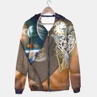 Thumbnail image of Dolphin time sculpture on leather Hoodie, Live Heroes