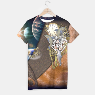 Thumbnail image of Dolphin time sculpture on leather T-shirt, Live Heroes