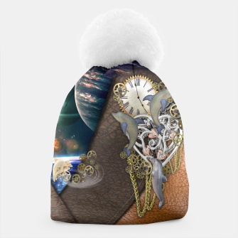 Thumbnail image of Dolphin time sculpture on leather Beanie, Live Heroes
