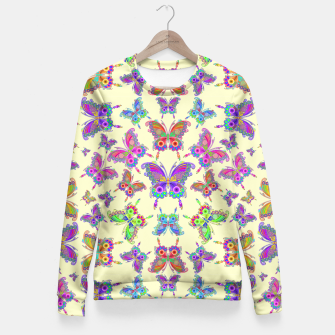 Thumbnail image of Butterfly Colorful Tattoo Style Pattern Fitted Waist Sweater, Live Heroes
