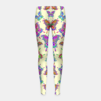 Thumbnail image of Butterfly Colorful Tattoo Style Pattern Girl's Leggings, Live Heroes