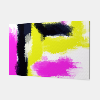 Miniatur pink yellow black line pattern painting abstract background Canvas, Live Heroes